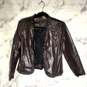 Ruby Rd. - Faux Leather Ruffle Jacket Brown Size 8